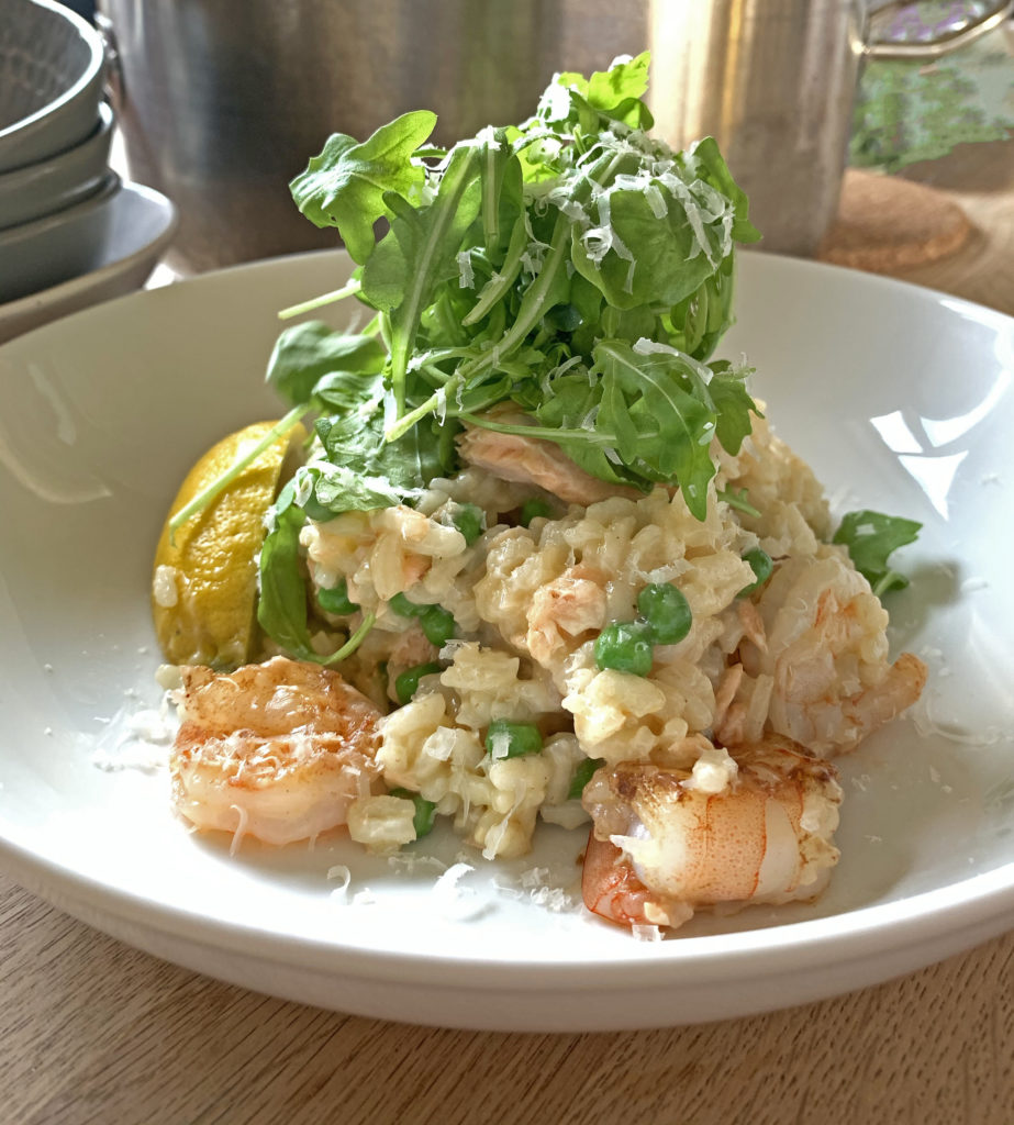 seafood cod risotto finished dish